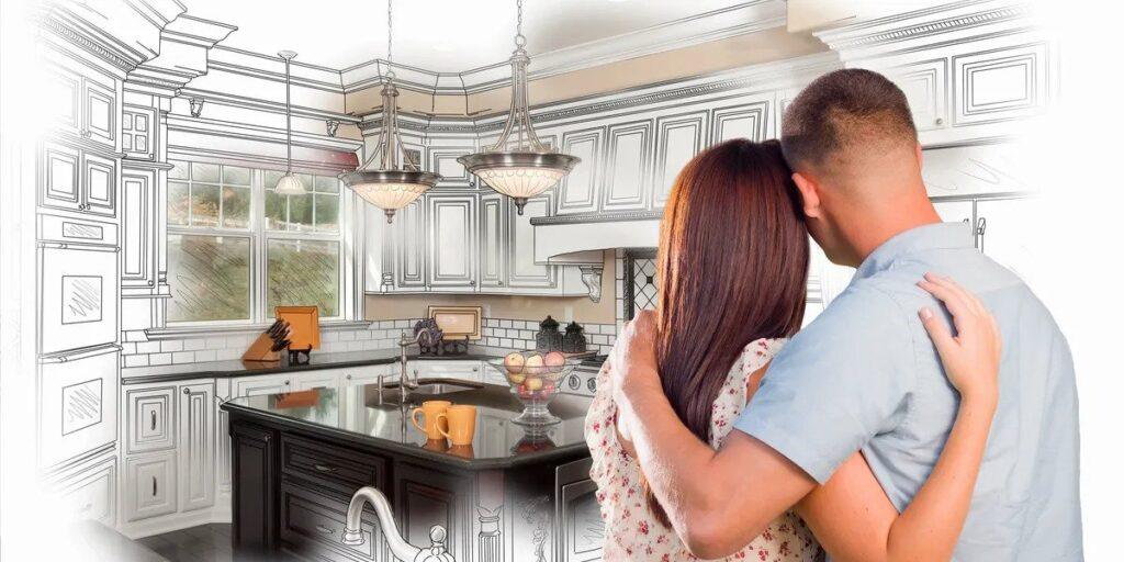 Couple envisioning what their new kitchen will look like once they close on the property with realtor Paula Rogers.